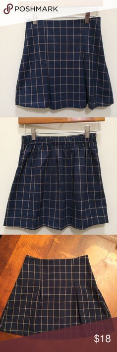 Super Cute Pleaded Plaid School Girl Mini Skirt Perfect for Fall! Rock Campus in this new super cute school girl uniform skirt. Like New Condition, only worn once! Flat-front, A-line; elastic band in back for extra comfy fit; pair with your favorite over knee boots! Material: 95% Polyester; 5% Spandex; very dark navy Blue with yellow gold stripes; Hanger 221 Skirts Mini