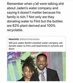 Well done, Jaden! The youth like him will run the world! We're in safe hands! The whole American government does absolutely nothing and… We Are The World, In This World, Faith In Humanity Restored, Intersectional Feminism, Equal Rights, The More You Know, My Tumblr, Good People, Rich People