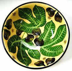 Fig bowl, old pattern painted by artist Geoff Graham of CInnabar Ceramics in Vallejo, California.