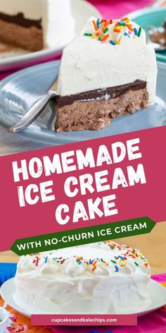 Better than Dairy Queen and Carvel, this Classic Ice Cream Cake is homemade but still super easy because it is made with no-churn ice cream. Layers of chocolate and vanilla with fudge in the middle and whipped cream and sprinkles on top make this a gluten free frozen dessert that kids of all ages will love! Cake Recipes, Dessert Recipes, Desserts, Easy Homemade Ice Cream, No Churn Ice Cream, Whipped Cream Frosting, Ice Cream Pies, Vegetarian Chocolate, Frozen Treats