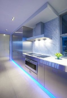 Led strip lighting beneath plinth of kitchen island kitchen led strip lighting kitchen lighting ideas aloadofball Image collections