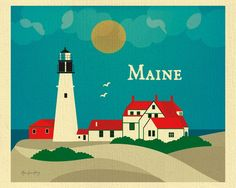 Portland Head Lighthouse print, Maine skyline print, small Maine print, 8x10, 11x14 art size, Loose Petals city art by Karen Young, Maine scenery prints, Maine Gifts, Handmade Maine Gifts