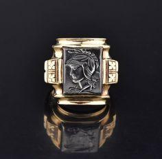 Mens Art Deco Hematite Intaglio Cameo Ring #intage #Intaglio #Deco #Ring #Men #Mens #Cameo #Art #Bead #Fist