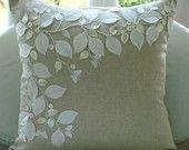 applique; http://www.etsy.com/listing/73062027/linen-beauty-pillow-sham-covers-24x24