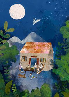 中秋禮盒包裝插畫 House Illustration, Illustrations, Cake Festival, Chinese New Year Holiday, Chinese Festival, Good Night Moon, Mid Autumn Festival, Chinese Art, Pop Art