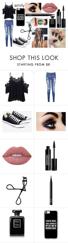 """""""emily"""" by theimperfect-perfection ❤ liked on Polyvore featuring Tommy Hilfiger, Converse, Lime Crime, Edward Bess, Bobbi Brown Cosmetics, NARS Cosmetics, Chanel and Casetify"""