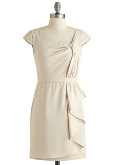 Twists and Head Turns Dress - Short, Cream, Solid, Wedding, Party, Sheath / Shift, Cap Sleeves, Spring, Vintage Inspired