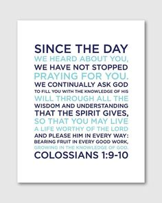 Colossians 1910 Boy Nursery Bible Verse Art 8x10 by DesignGem, $18.00
