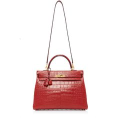Hermes 35cm Rouge H Matte Alligator Retourne Kelly | Moda Operandi (271,860 SAR) ❤ liked on Polyvore featuring bags, handbags, hermes purse, top handle bags, kiss-lock handbags, hermes handbags and locking purse
