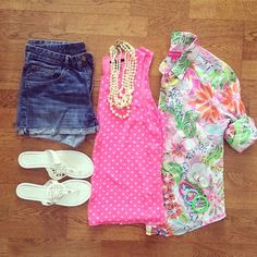 Lilly Pulitzer for Target Shirt, Polka Dot Tank, Denim Shorts, Pearl Necklace, Tory Burch Inspired Miller Sandals   #weekendwear #casualstyle #liketkit   www.liketk.it/1kXxB   IG: @whitecoatwardrobe