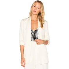 T by Alexander Wang Charmeuse Blazer (€460) ❤ liked on Polyvore featuring outerwear, jackets, blazers, coats & jackets, draped blazer, draped open front jacket, shawl collar blazer, blazer jacket and open front blazer