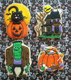 Cute Halloween cookies featuring monster, haunted house, black kitty in pumpkin and pumpkin filled with candy