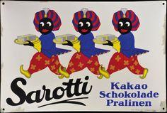 Sarotti enamel sign, 1920 Berlin Kakao, Brand Packaging, Vintage Signs, Signage, Berlin, Teenager, Enamel, Fictional Characters, Vintage Advertisements