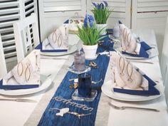Tischdeko Kommunion Konfirmation Blau Grau Fisch