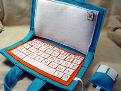 kiki creates: a boy post.tutorial for felt laptop Felt Diy, Felt Crafts, Diy Quiet Book, Quiet Books, Quiet Book Tutorial, Boy Post, Diy Accessoires, Felt Books, Busy Bags