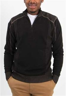 d53b273a56 1897+Mens+Quarter+Zip+Long+Sleeve+Sweater+in+Black+Latte+1809GL-BLK+LATTE