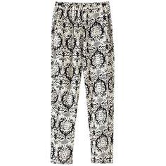 Chicnova Fashion Printed Harem Pants ($11) ❤ liked on Polyvore featuring pants, bottoms, pantalones, cotton trousers, white harem pants, white pants, white trousers and harem trousers