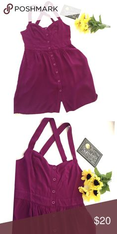 """listing Staring at Stars Sundress Plum sundress from Urban Outfitters. Button front, criss cross straps. This dress has pockets, yay! 100% rayon.  Bust 16"""" flat, length 34"""". Urban Outfitters Dresses"""