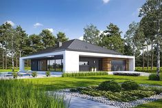 Projekt domu parterowego Harmonijny D56 wariant II o pow. 142,25 m2 z obszernym garażem, z dachem kopertowym, z tarasem, sprawdź! New House Plans, Dream House Plans, Facade House, Modern House Design, Home Fashion, Exterior Design, Modern Architecture, My House, New Homes
