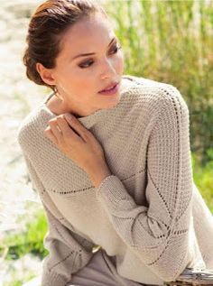 Бежевый пуловер покроя кимоно
