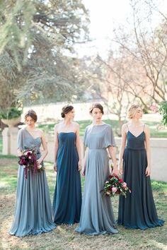 Mismatched Gray Blue Long Bridesmaid Dresses by Jenny Yoo Collection