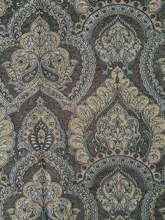 Raja 965 Mascara: Covington Fabric for professional decorating. Covington Fabric, French Wallpaper, Damasks, Jacobean, French Antiques, Mascara, Paisley, Upholstery, Fabrics