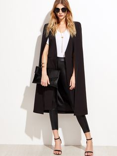 Shop Black Open Front Longline Cape Blazer online. SheIn offers Black Open Front Longline Cape Blazer & more to fit your fashionable needs.