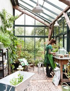 Amazing Shed Plans - Greenhouse idea - Now You Can Build ANY Shed In A Weekend Even If You've Zero Woodworking Experience! Start building amazing sheds the easier way with a collection of shed plans! Dream Garden, Home And Garden, Glass House Garden, Glass Green House, Gazebos, Greenhouse Gardening, Greenhouse Ideas, Greenhouse Attached To House, Greenhouse Kitchen