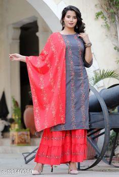 Kurta Sets Women's Printed Daily Wear Kurta Set with Sharara Kurta Fabric: Rayon Bottomwear Fabric: Rayon Fabric: Rayon Sleeve Length: Three-Quarter Sleeves Set Type: Kurta With Dupatta And Bottomwear Bottom Type: Sharara Pattern: Printed Multipack: Single Sizes: XXL Country of Origin: India Sizes Available: M, L, XL, XXL, XXXL, 4XL, 5XL, 6XL, 7XL   Catalog Rating: ★4.4 (469)  Catalog Name: Women's Printed Rayon Kurta Set with Sharara CatalogID_2614982 C74-SC1003 Code: 547-13340980-7002