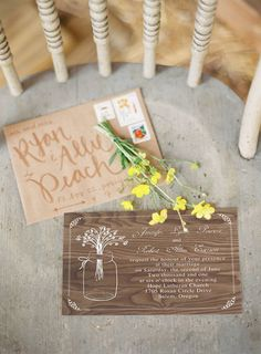 mason jar inspired wooden rustic wedding invitations