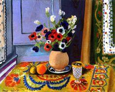 Anemones in an Earthenware Vase / Henri Matisse - 1924