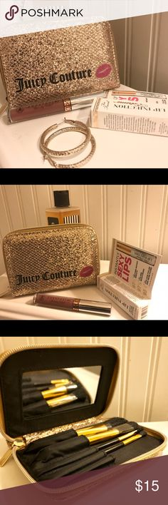 Juicy Couture Make Up Case With Brushes Juicy Couture Gold Glitter Makeup Case With Brushes and Mirror. Never used Brushes. I'm new and would LOVE accepting any reasonable offers. ❤️ XOXO AJO Juicy Couture Makeup Brushes & Tools