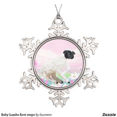 Baby Lambs first steps Snowflake Pewter Christmas Ornament