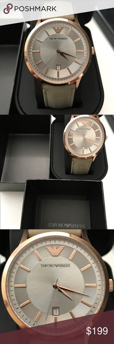 Emporio Armani AR2464 Women's Rose Gold Watch Brand, Seller, or Collection NameEmporio Armani Model numberAR2464 Part NumberAR2464 Item ShapeRound Dial window material typeMineral Display TypeRound ClaspBuckle Case materialStainless steel Case diameter43 millimeters Case Thickness9 millimeters Band MaterialCalfskin Band width21 millimeters Band ColorBeige Dial colorSilver Special featuresEmporio Armani Round Leather Strap Watch MovementAnalog quartz Water resistant depth50…