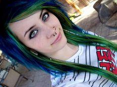 blue, cute, girl, green, hair