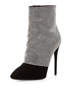 Strass and Suede Ankle Boot by Giuseppe Zanotti at Neiman Marcus.