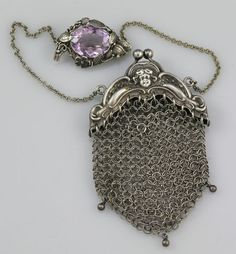 Sterling and Amethyst Mesh Coin Purse