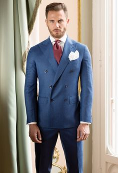 Latest Coat Pant Designs Blue Double Breasted Custom Wedding Suit for Men Slim Fit Blazer High Quality Tuxedo 2 Piece Vestido F Mens Fashion Suits, Mens Suits, Men's Fashion, Best Wedding Suits, Wedding Tux, Men's Tuxedo Styles, Light Blue Suit, Design Bleu, Smoking