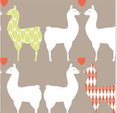 Kids reversible 100% Organic Cotton Duvet Cover made of Monaluna  Llama Love and Herringbone fabric - twin or full size