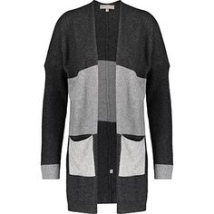 Grey Striped Cashmere Blend Cardigan