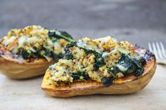 twice baked butternut squash with kale and quinoa | Dishing Up the Dirt