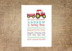 Tractor Birthday Invitation, personalized and printable, 5x7