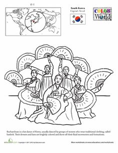 Worksheets: Color the World! South Korea