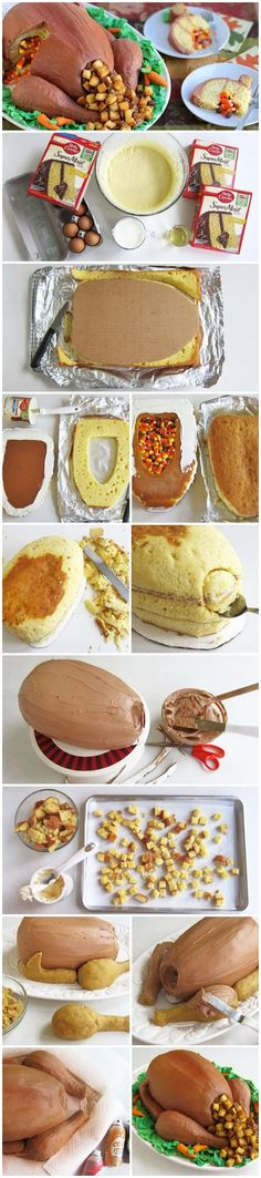 Thanksgiving Turkey Cake Step by Step Tutorial ~ Says: Surprise your family this Thanksgiving by serving a roasted turkey for dessert. fun & creative pinata style CAKE :) i would use reese's pieces instead of candy corn. Holiday Cakes, Holiday Desserts, Holiday Treats, Holiday Recipes, Thanksgiving Cakes, Thanksgiving Turkey, Turkey Cake, Creative Cakes, Let Them Eat Cake