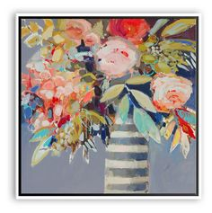 A vibrant floral still life, rendered with painterly brushstrokes and vivid color. This is a reproduction of an original work by Erin Gregory, printed on gallery-wrapped canvas and set in a chic...