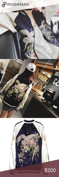 2016 two sides embroidery baseball clothes Brand new jacket with a tag on. Two sides can wear. Handmade print. Size L. Length is 71cm, breast is 122cm and sleeve is 79.5cm. Jackets & Coats