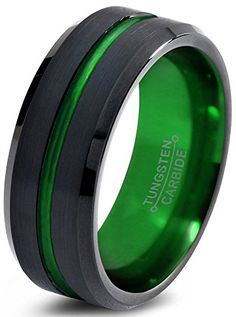 Tungsten Wedding Band Ring 8mm for Men Women Green Black Beveled Edge Brushed Polished Lifetime Guarantee Chroma Color Collection http://www.amazon.com/dp/B018C7S298/ref=cm_sw_r_pi_dp_.Myxwb02WAFYP