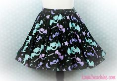 Graveyard Shift Printed Skater Skirt (Bats, Moons, Stars) Fairy Kei Pastel Goth Kawaii Plus Size