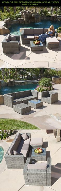NEW 6PC Furniture Outdoor Patio Aluminum Sectional PE Wicker Cushion Sofa Gray #furniture #cushions #technology #fpv #plans #parts #shopping #racing #tech #camera #drone #patio #kit #products #6 #gadgets
