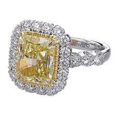 Christopher Designs fancy yellow radiant diamond ring